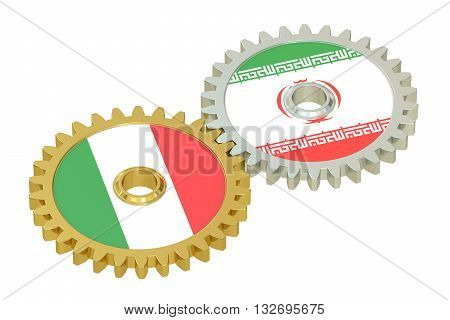 Iran and Italy flags on a gears 3D rendering isolated on white background