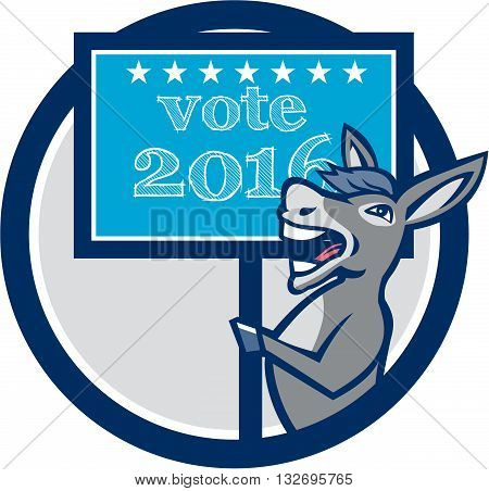 Illustration of a democrat donkey mascot of the democratic grand old party gop smiling holding a sign placard with Vote 2016 and stars set inside circle done in cartoon style.