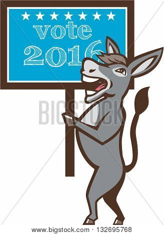 Illustration of a democrat donkey mascot of the democratic grand old party gop smiling holding a sign placard with Vote 2016 and stars set on isolated background done in cartoon style.