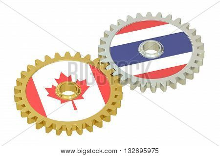 Thailand and Canada flags on a gears 3D rendering isolated on white background