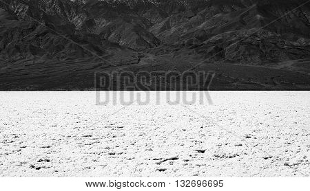 Black and white picture of Death Valley