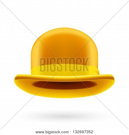 Yellow round traditional hat with hatband on white background.