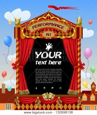 Puppet show booth with theater masks, red curtain, illuminated signboards with city view and colorful balloons in the sky.  Vector illustration
