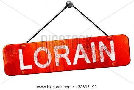 lorain, 3D rendering, a red hanging sign