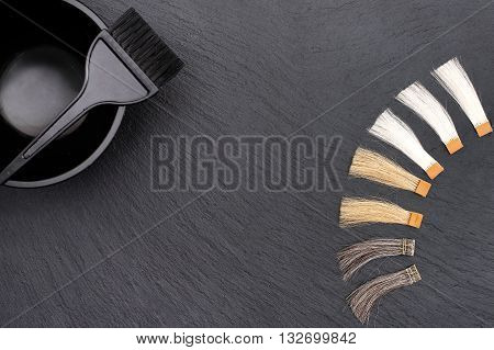 Hairdresser Accessories for coloring hair and Extensions colors on a black background