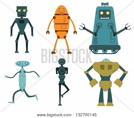 Robot set in flat style, vector illustration isolated on white