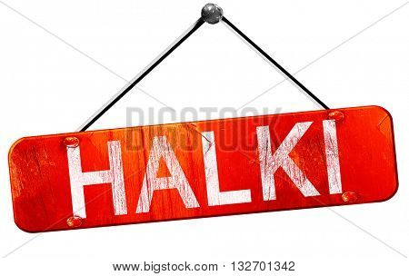 Halki, 3D rendering, a red hanging sign