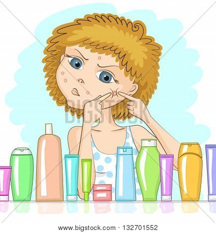 Girl with problem skin and with displeased face is squeezing out big pimple at her cheek. Various cosmetic products in front of her. Skin care and beauty concept