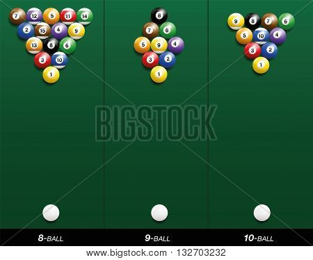 Billiard starting positions - eight-ball, nine-ball and ten-ball. Three-dimensional vector illustration on green gradient background.
