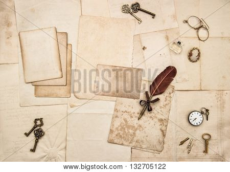 Vintage letters and handwritten. Nostalgic romantic paper background. Scrapbook. Flat lay