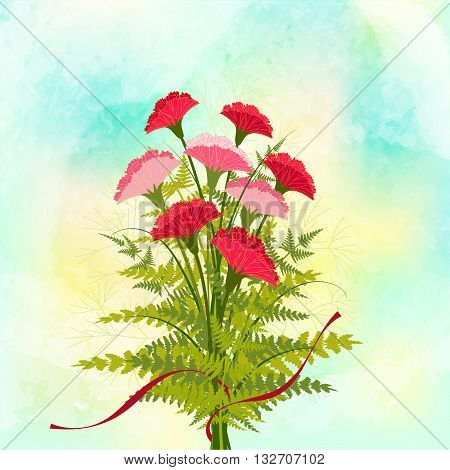 Springtime Red Carnation Flower on Yellow Green Background
