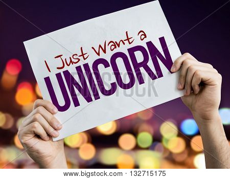 I Just Want a Unicorn placard with night lights on background