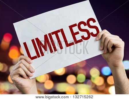 Limitless placard with night lights on background