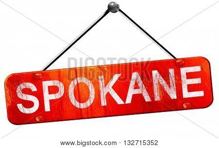 spokane, 3D rendering, a red hanging sign