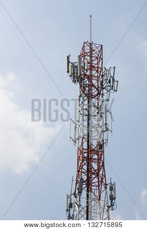 Communication Tower on blue sky background.telecommunication tower with Sky.Telecommunication mast TV.Satellite dishes antenna.Conceptual communication image.Communication technology mobile phone poster