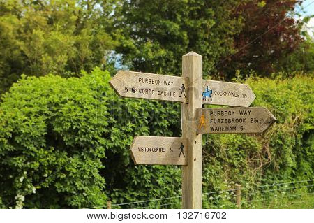 Signpost For Tourists In The English Countryside