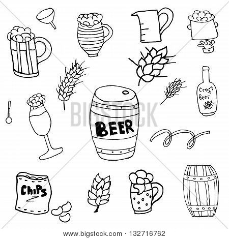 Home brewed beer house crafted beer I love beer brewery drink alcohol hand-drawing holiday inscription lettering poster