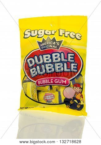 Winneconne WI - 7 March 2016: Bag of Dubble Bubble gum on an isolated background