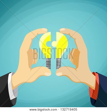 Two men fold bulb in the form of a puzzle. Symbol partnership and collaboration. Stock Vector cartoon illustration.