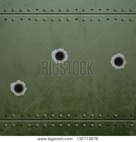 Holes from the shots on the green plate of armor metal. Stock vector illustration.