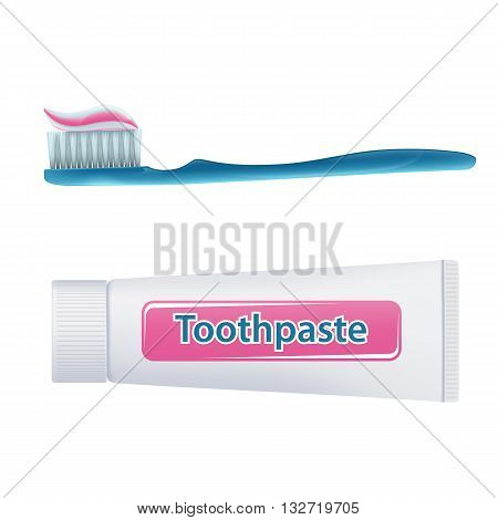 Toothbrush with toothpaste and tube isolated on white background. Stock vector illustration.