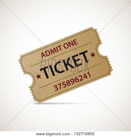 Realistic icon cinema ticket. Stock vector illustration.