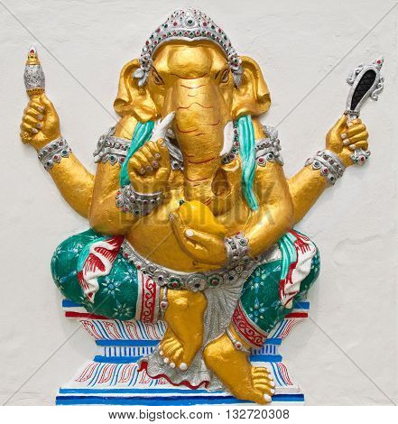Indian or Hindu ganesha God Named Triaksara Ganapati at temple in thailand ;The conviction will be used hand to apply to the Lord for get the wishes.