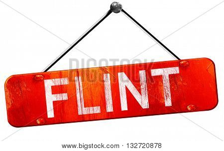 flint, 3D rendering, a red hanging sign