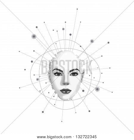 Abstract female face shatters into pieces. Vector illustration