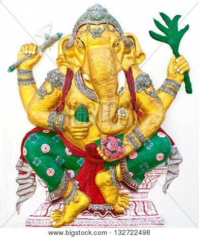 Indian or Hindu ganesha God Named Siddhi Ganapati at temple in thailand ;The conviction will be used hand to apply to the Lord for get the wishes.