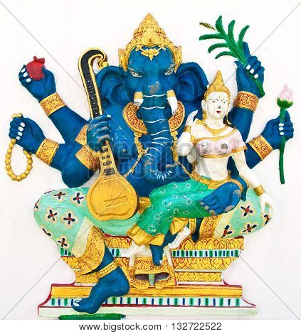 Indian or Hindu ganesha God Named Uchchishta Ganapati at temple in thailand ;The conviction will be used hand to apply to the Lord for get the wishes.