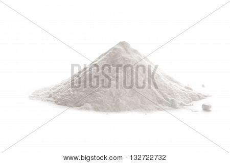 Baking soda Sodium bicarbonate isolated on white background NaHCO3