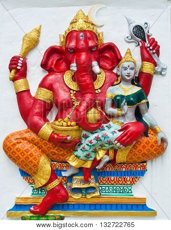 Indian or Hindu ganesha God Named Vara Ganapati at temple in thailand ;The conviction will be used hand to apply to the Lord for get the wishes.