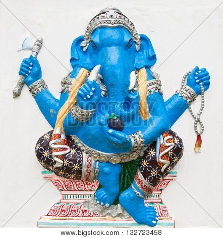 Indian or Hindu ganesha God Named Ekdanta Ganapati at temple in thailand ;The conviction will be used hand to apply to the Lord for get the wishes.