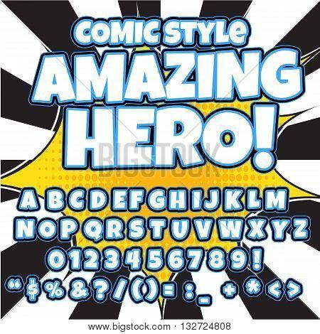 Comic retro alphabet set. Blue color version. Letters, numbers and figures for kids' illustrations, websites, comics, banners.