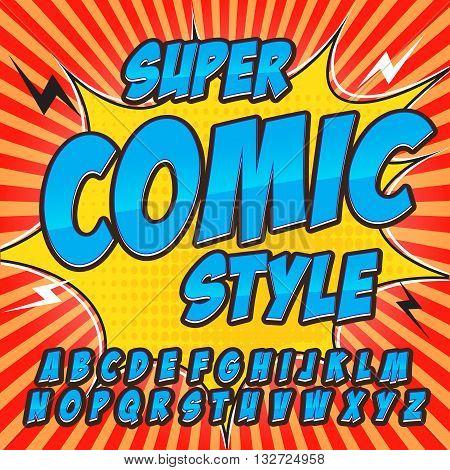 Comic alphabet set. Blue color version. Letters, numbers and figures for kids' illustrations websites comics  banners.