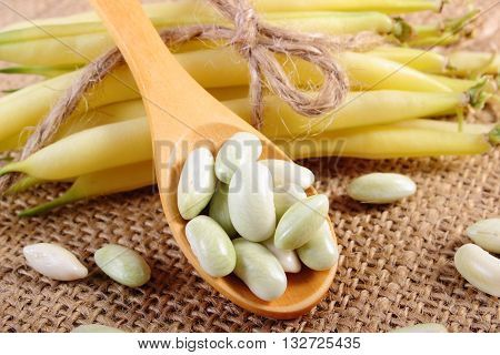 Seeds of beans on wooden spoon and stack of beans tied with string lying on jute canvas healthy food and nutrition