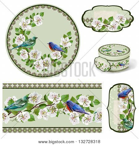 The branch of a flowering pear. White flowers. Blooming trees. Set for packaging. Box round. Label.decoupage. Floral background. Flower border. Pattern. Mosaic. Blue bird.