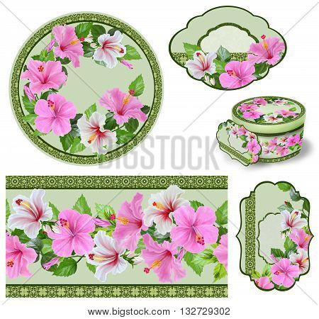 Set for packaging. Box round. Label.decoupage. Floral background. Flower border. Pattern. Mosaic. Hibiscus pink and white. Tropical flowers.