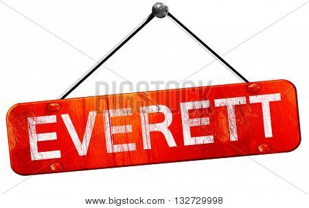 everett, 3D rendering, a red hanging sign