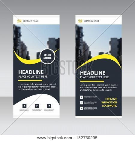 Black yellow Business Roll Up Banner flat design template Abstract Geometric banner template Vector illustration set abstract presentation template