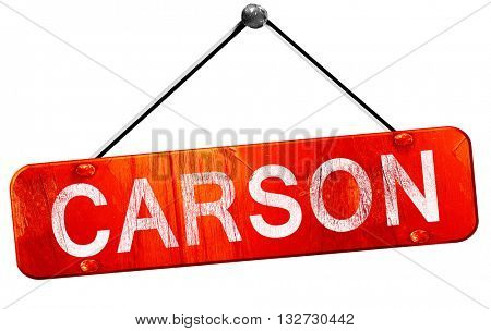 carson, 3D rendering, a red hanging sign