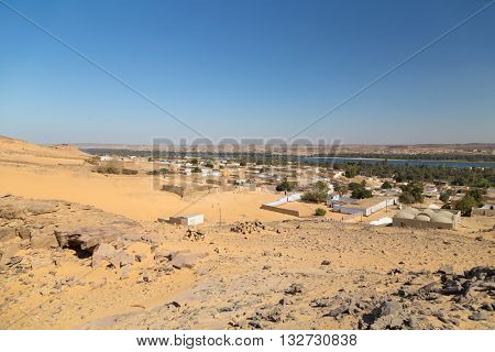 Panoramic view on Nubian village in Egypt.