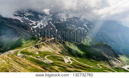 A scenic mountain road up the Alps