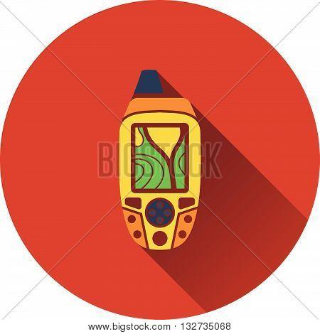 Portable GPS device icon. Flat design. Vector illustration.