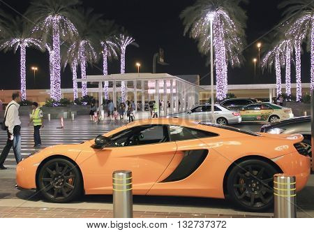 McLaren sports car near the Dubai Mall United Arab Emirates April 14 2014 soft focus