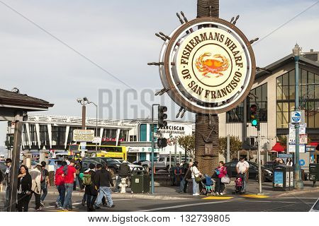 San Francisco USA - November 12: Fishermans Wharf of San Francisco. Fisherman's Wharf is a neighborhood and popular tourist attraction with restaurant and shops and each year visit it many tourists and visitors. Taken in November 12 2014 San Francisco Cal