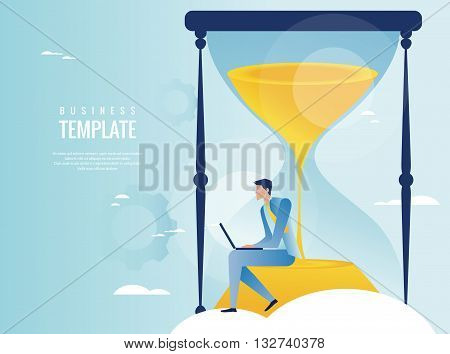 Vector illustration of time management concept with hourglass
