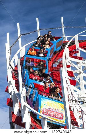 People On Giant Dipper Roller Coaster, Santa Cruz, California