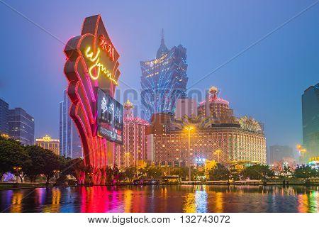 Casino Building Skyline Night In Macau